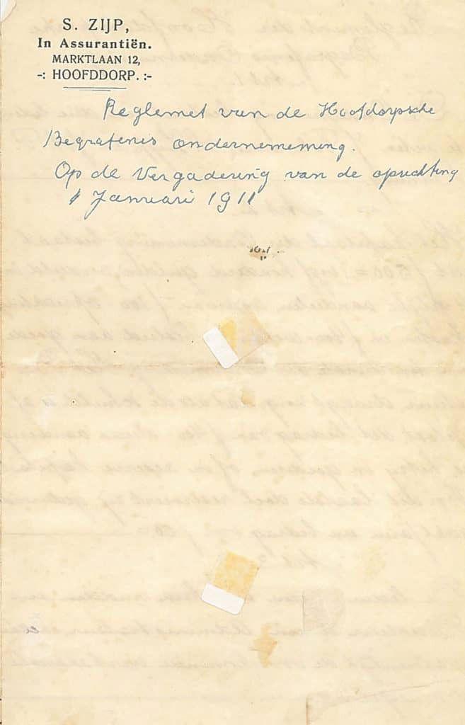Reglement van de Hoofddorpse Begrafenis Onderneming - pag. 1