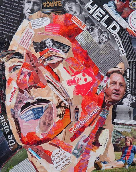 Een collage van Johan Cruijff door Lisette Hogewoning