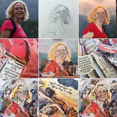 Het proces van de collage ter herinnering door Lisette Hogewoning