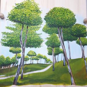 Beschilderde uitvaartkist door Vanessa van Munster - park